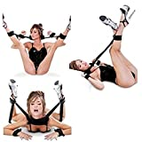 Soft Comfortable Cuffs Women Couples Bedroom Play Toy with 4 Adjustable Cuffs Straps, Black Support Nylon Sling Straps