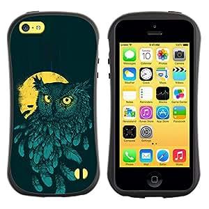 LASTONE PHONE CASE / Suave Silicona Caso Carcasa de Caucho Funda para Apple Iphone 5C / Teal Yellow Night Bird Painting