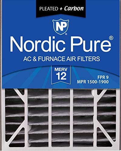 Nordic Pure 20x25x5 (4-7/8 Actual Depth) MERV 12 Plus Carbon Trion Air Bear Replacement AC Furnace Air Filter, Box of 1