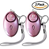 Personal Security Alarm, 130Db Pripaso Emergency Personal Alarm Keychain for Women, Dog Walkers, Superior, Explorer Self Defense Electronic Device Bag Decoration (2pack, Purple)