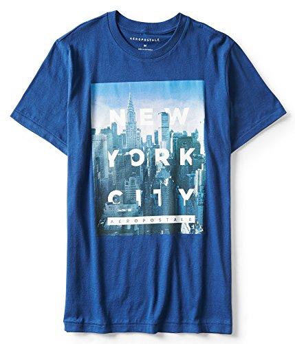 Aeropostale Men's Hidden New York City Graphic Tee Large Midnight Blue