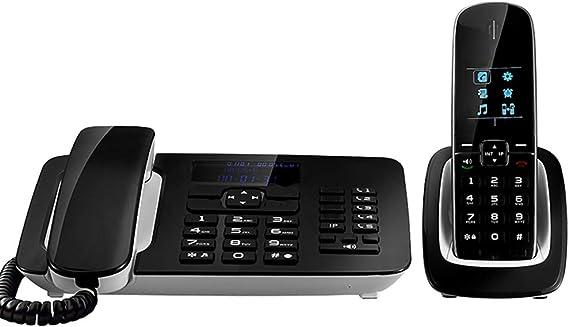 Teléfono Inalámbrico En Blanco Y Negro con Contestador Automático, Botones Mate, Duración De Grabación De 1000 Horas, Lista Negra, Marcación De Un Toque: Amazon.es: Hogar