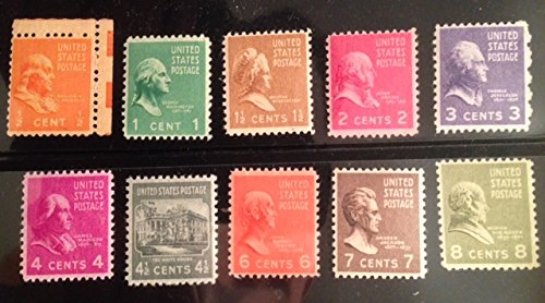 (PREXIE MIX ~ EIGHT STAMPS FROM THE PRESIDENTIAL SERIES ~ FRANKLIN ~ BENJAMIN FRANKLIN ~ JOHN ADAMS ~ THOMAS JEFFERSON ~ WHITE HOUSE ~ JOHN QUINCY ADAMS ~ ANDREW JACKSON ~ MARTIN VAN BUREN ~ MINT US POSTAGE STAMPS FROM 1938 ~ STAMP COLLECTING)