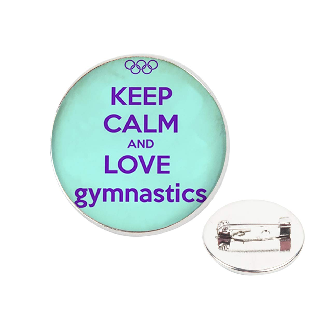 Pinback Buttons Badges Pins Keep Calm and Love Gymnastics Quote Lapel Pin Brooch Clip Trendy Accessory Jacket T-Shirt Bag Hat Shoe