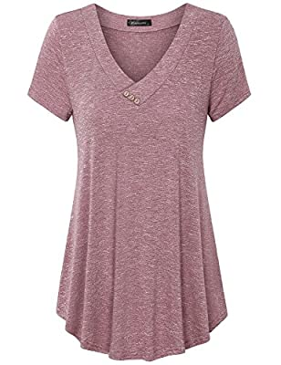 Vinmatto Women's Short Sleeve V Neck Flowy Tunic Top