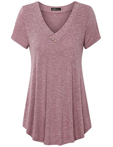 Vinmatto Women's Short Sleeve V Neck Flowy Tunic Top(L,Pink)