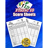 Phase 10 Score Sheets: 130 Large Score Pads for Scorekeeping – Phase 10 Score Cards | Phase 10 Score Pads with Size 8.5 x 11