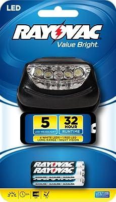 Rayovac Value Bright 14-Lumen 5 LED Headlight with Batteries (BRS5LEDHLT-BB)