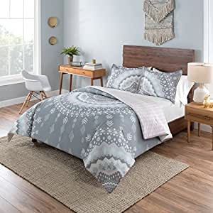 2 piece girls light pink white grey bohemian mandala comforter twin xl set girly. Black Bedroom Furniture Sets. Home Design Ideas