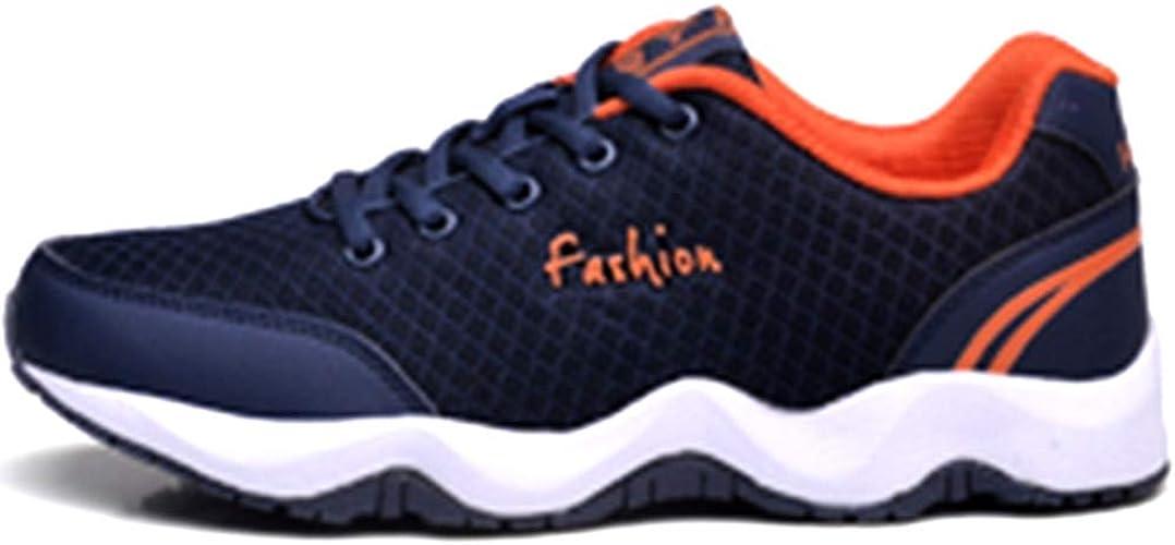 Hombres Zapatos para Correr Ocasionales con Cordones Zapatillas Deportivas al Aire Libre Suela Gruesa Antideslizante Deportes Caminar Correr Zapatillas de Deporte de Malla Transpirable: Amazon.es: Zapatos y complementos