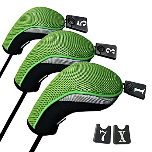 Andux Golf 460cc Driver Wood Head Covers with Interchangeable No. Tag Set of 3 Mt/mg05 Black/green - Fairway Woods No Headcover