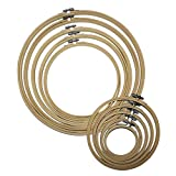 10 Piece Set of Handmade Round Wooden Embroidery Hoops by Curtzy - Bamboo Hoops for Sewing, Tapestry and Needle Craft Designs - The Best Set for Beginner and Professional