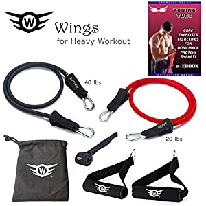 wings Resistance Bands for Exercise Heavy Workout Toning Tube Set of 2 with Carry Bag Door Anchor Ebook Physical Equipment Home Gym Accessories Medium Light Women Men