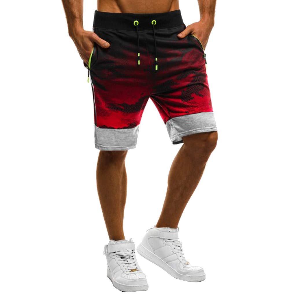 Sumen Men Shorts Camouflage Fitness Patchwork Bodybuilding Pocket Sports Pants