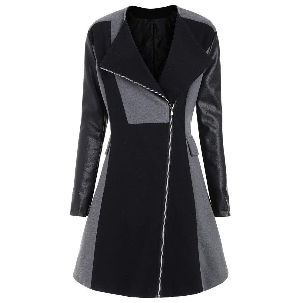 UOFOCO Woolen Leather Patchwork Long Coat Womens Winter Warm Jacket Overcoat Outwear