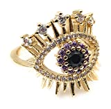 LESLIE BOULES 18K Gold Plated Evil Eye Ring Adjustable Size Protection Jewelry