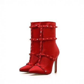 Lieyliso Los Botines De Las Mujeres Estiran Los Remaches De Tela Stilettos Puntiagudos (Color : Red, Size : 40): Amazon.es: Hogar