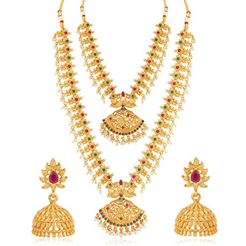 Sukkhi Classic Pearl Gold Plated Peacock Long Haram Necklace Set for Women (SKR70419), pink & green, free size