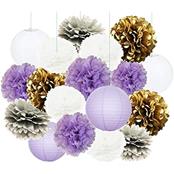 Amazon Qians Party Purple Lavender Glitter Gold Baby Shower
