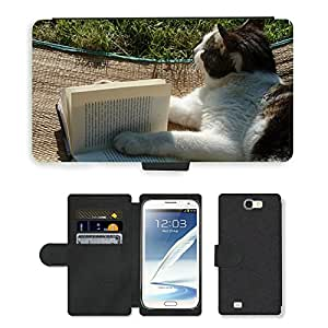 GoGoMobile Flip PU Leather Wallet Case with Credit Card Slots // M00118711 Reading Book Cat Literature // Samsung Galaxy Note 2 II N7100
