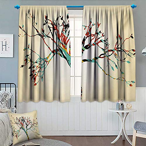 Anhounine Modern,Blackout Curtain,Retro Vintage Style Colorful Design on Abstract Black Tree with Leaves Buds Artwork,Thermal Insulating Curtain,Multicolor,W55 x L72 -