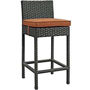 LexMod Sojourn Outdoor Patio Bar Stool, Canvas Tuscan