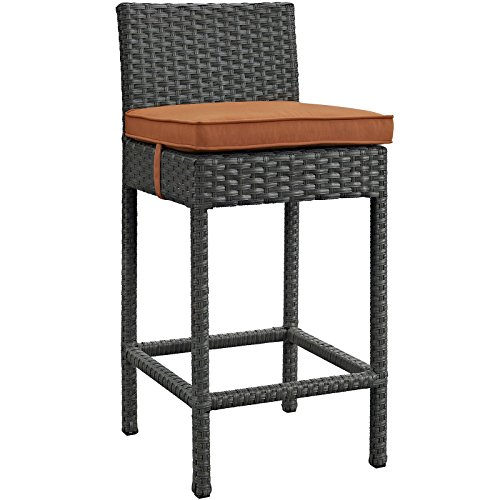 Bar Stool Cushion Canvas (Modway Sojourn Outdoor Patio Bar Stool With Sunbrella Brand Tuscan Orange Canvas Cushions)