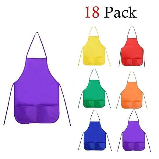 Delantal para niños, un Conjunto de 18 Piezas con 6 Colores ...