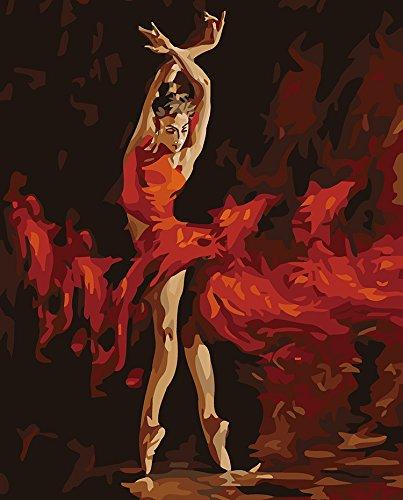 Sunteeny Diy Digital Oil Painting Dancing Girl, Handpainted artwork for Girl Series Paint By Numbers Kits