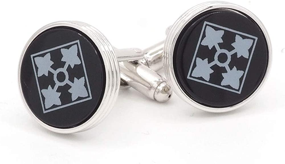 JJ Weston Cufflinks with Onyx 4th Infantry Division Insignia Made in The USA.