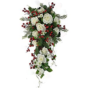 Winter Berry Rose Bridal Cascade - Silk Wedding Flower Bouquet- Ivory Red 114