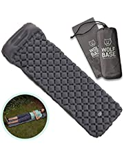 WOLF BASE Ultralight Sleeping Mat with Pillow Quick Inflatable Air Pad for Camping Hiking Backpacking and Travel Compact Portable Cushioned Sleep System Grey