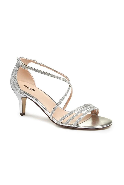 41b59b8b2269 David s Bridal Isla Delicate Thin Strap Metallic Low Heel Sandals Style  P1604