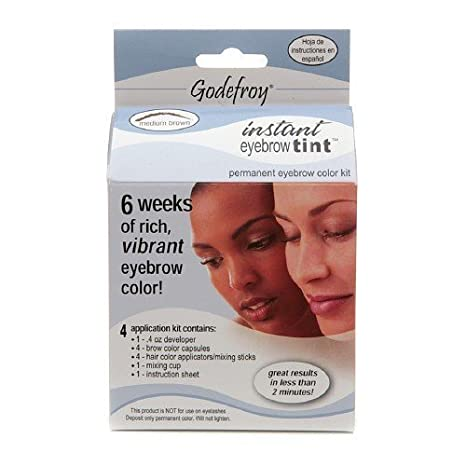 Godefroy instant tint permanent eyebrow color kit, Medium Brown ...