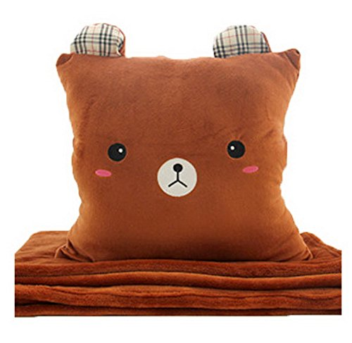 Cartoon Easily Bear Flannel Air Conditioning Blanket Warm Hand Pillow-Brown bear