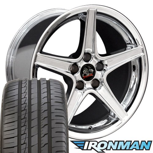 18x9 Wheel Fits Ford Mustang - Saleen Style Chrome Rim w/Ironman Tires - SET (Ford Mustang For Tires)