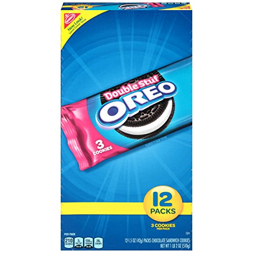 Oreo Double Stuf Chocolate Sandwich Cookies - Snack Packs, 12 Count Tray, 18 ()
