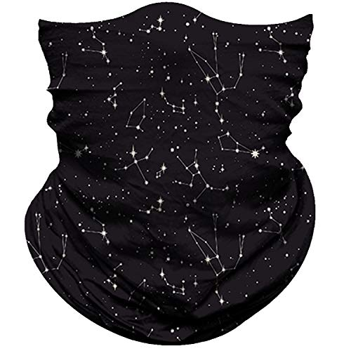Obacle Seamless Bandana for Rave Face Mask Dust Wind UV Sun Protection Galaxy Tube Mask Headwear Bandana for Women Men Festival Party Motorcycle Riding Outdoor (Starry Sky White Black)