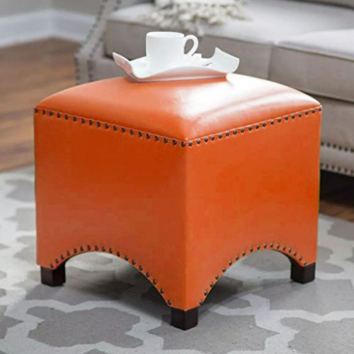 UUSSHOP Wood Seating Footstool Footrest Ottoman Pouffe Square Chair Foot Stool with Luxury Oil Wax Leather Cover, Handcrafted Rivets Edge-Sealing (Orange) by UUSSHOP