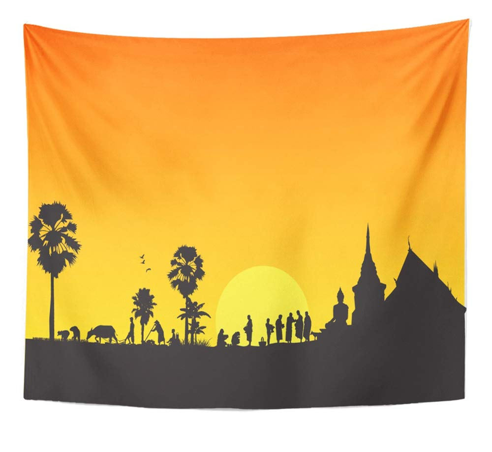 Emvency Tapestry Artwork Wall Hanging Thailand Thai Countryside Buddha Skyline Asia Silhouette Temple Field Merit 50x60 Inches Tapestries Mattress Tablecloth Curtain Home Decor Print