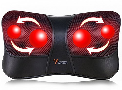 VIKTOR JURGEN Shiatsu Kneading Massage Pillow with Heat,Neck,Shoulder & Back Massager for Home/Car/Office