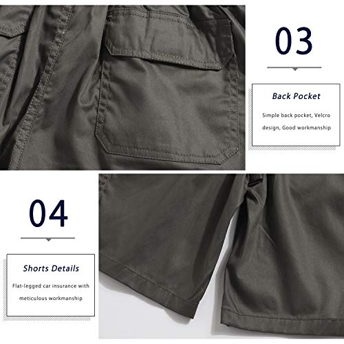 ELETOP Men's Cargo Shorts Casual Elastic Waist Relaxed Fit Outdoor Summer Shorts with Pockets