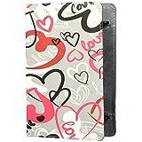 """E-Vitta Funda para Tablet de hasta 7"""", Diseño Crazy Hearts, color Gris/Rojo"""