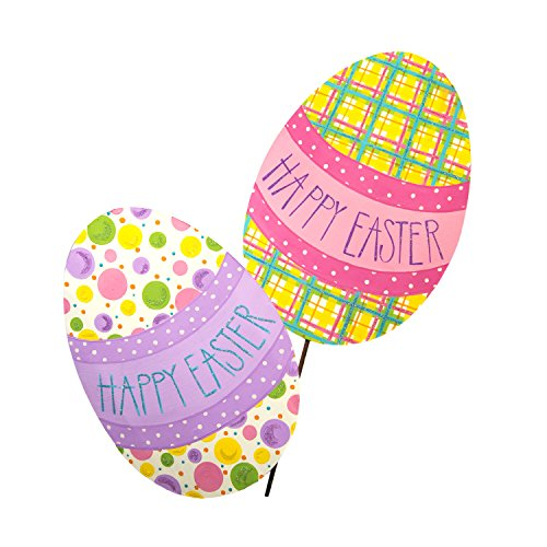 The Round Top Collection Plaid & Dot Happy Easter Eggs, Set of 2/Metal
