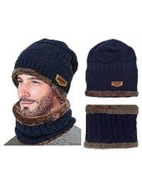 YASSUN - Collar de punto para sombrero de Joker de invierno, sencillo de otoño e invierno, resistente al viento (azul marino)