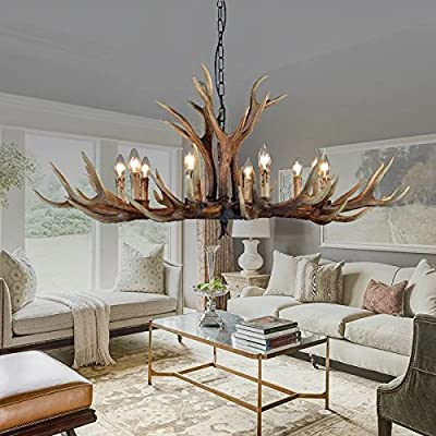 EFFORTINC Antlers vintage Style resin 10 light chandeliers, American rural countryside antler chandeliers,Living room,Bar,Cafe, Dining room deer horn chandeliers