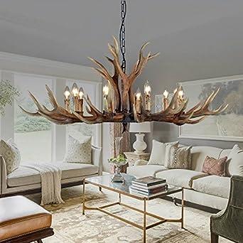 EFFORTINC Antlers Vintage Style Resin 10 Light Chandeliers American Rural Countryside Antler ChandeliersLiving