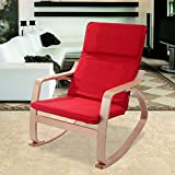New Rocking Chair Armchair Leisure Lounge Wood Accent Living Room Furniture Red