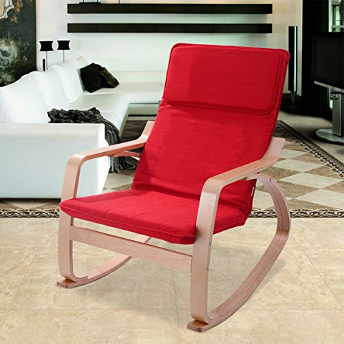New Rocking Chair Armchair Leisure Lounge Wood Accent Living Room Furniture Red by MTN Gearsmith