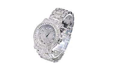 4b071a5e21efa Iced Out CZ Diamond Watch. Hip Hop Gold Silver Color Jewelry. Bust Down AP
